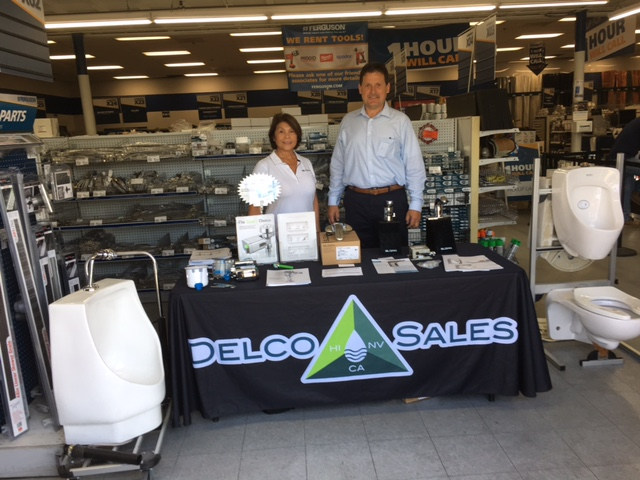 Pictured here are David David and Barbara Norman showcasing Sloan Valve fixtures, faucets and more utilizing the latest in technology out there!