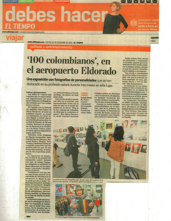 """100 Most Outstanding Colombians Abroad"" Exhibition - El Dorado Airport - Bogotá, Colombia"