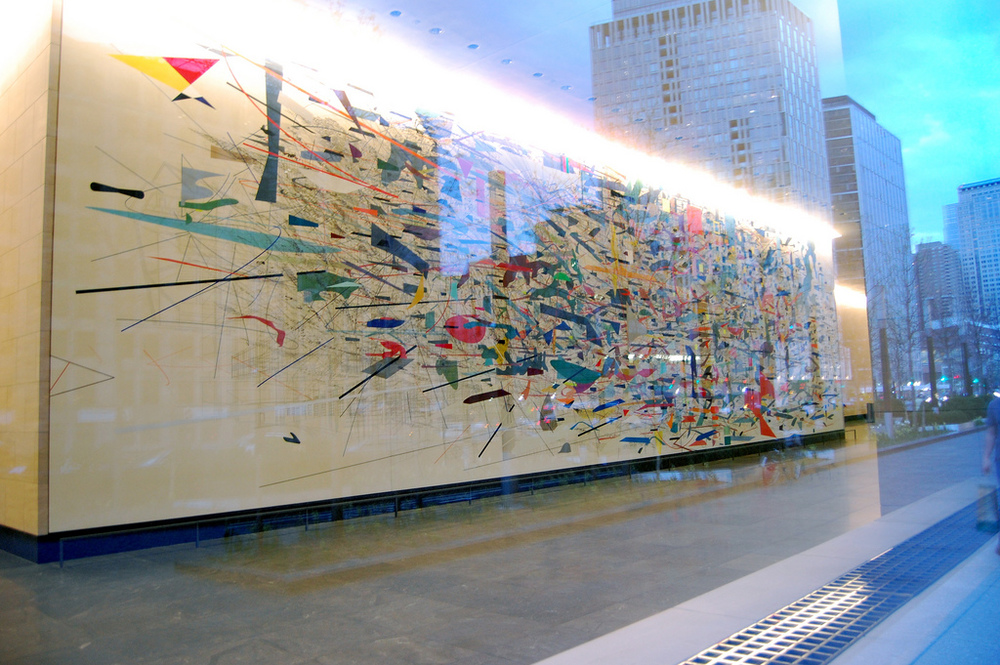 Julie's Mehretu's most widely known work is an 80-foot-wide mural located in America's most notorious investment bank Goldman Sachs tower at 200 West Street in New York, entitled Mural