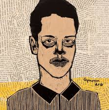 Ephrem Solomon, Untitled (Portrait Series), 2013, woodcut and mixed media, 32cm by 32cm