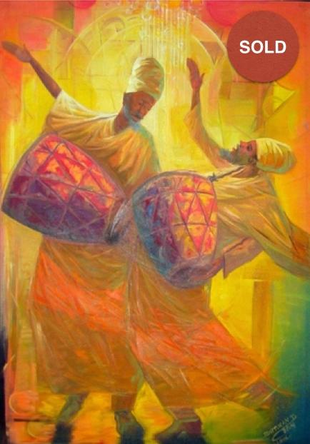 Yaredawi Zema by Birtukan Dejene; Oil on canvas: 735 USD