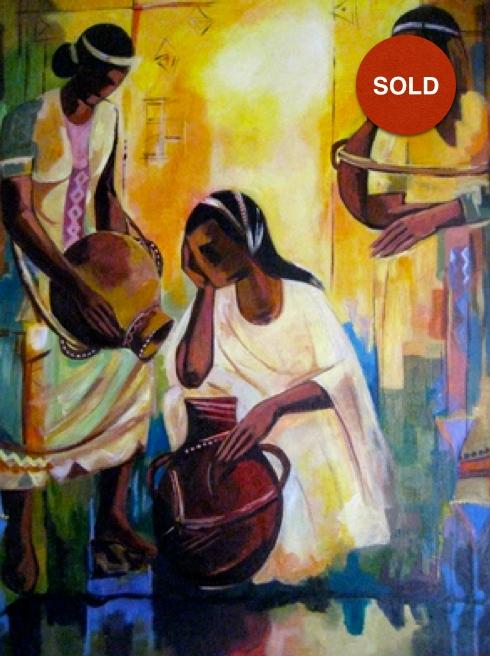 Untitled by Biru Worku; Acrylic on canvas: 500USD