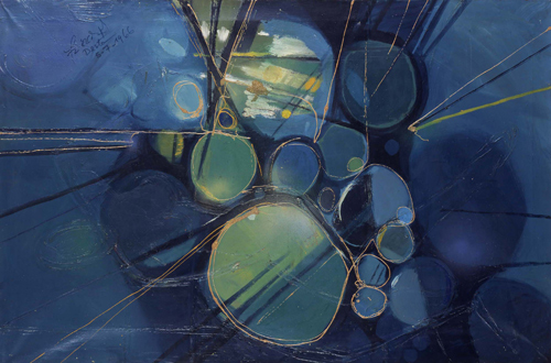 Green Abstract, oil on canvas, 80 by 120cm, 1966