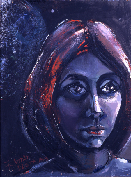 Remembering Marga, oil on hardboard, 65.5 by 50 cm, 1963