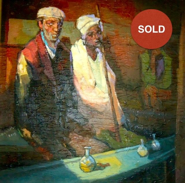 Tej Bet Series by Seyoum Ayalew; Oil on canvas