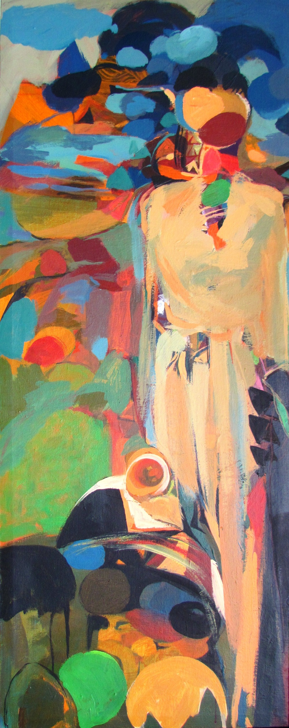 Dereje Demissie, Acrylic on canvas, 150X60cm, ''BEYOND the RUEFUL'', 2015