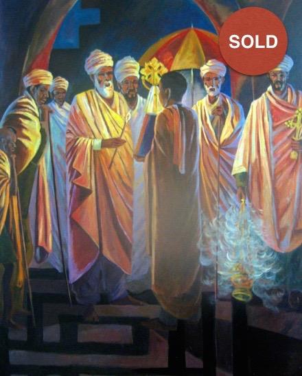 Priests at Night by Biru Worku; Acrylic on Canvas: 500 USD