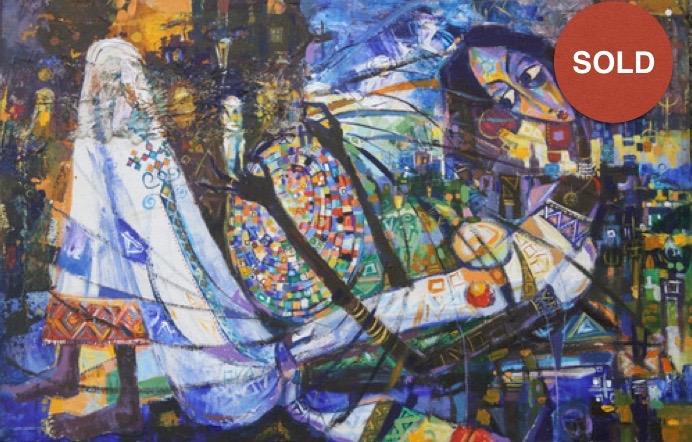 Bale Sefet by Eyayu Genet; Acrylic on canvas