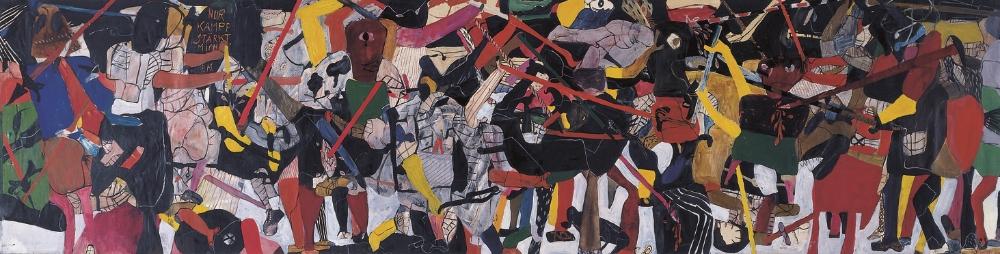 Nur Kampf stärkt mich , 1962 Oil on canvas 130 x 507 cm