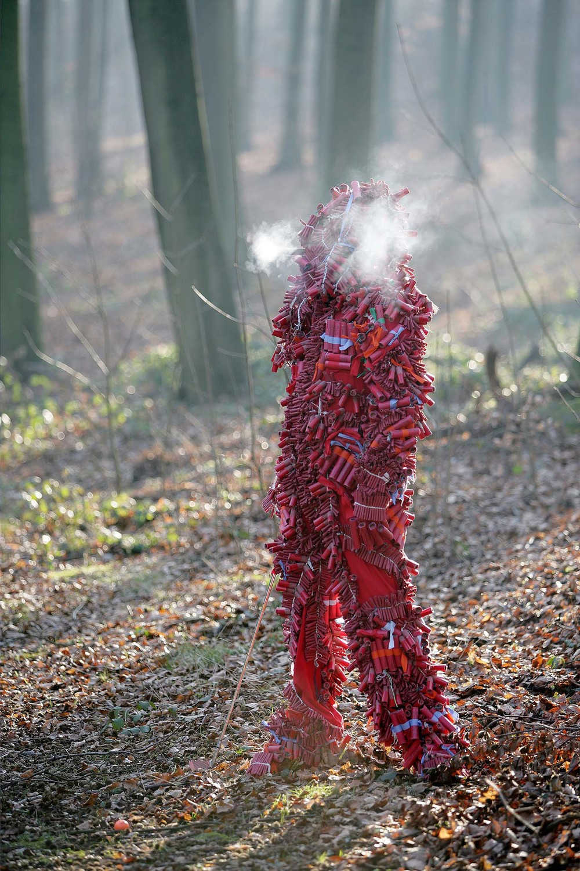 Knallermann, 2005 Fire crackers, fabric, metal 180 x 60 x 70 cm Photo: M. Vincenz