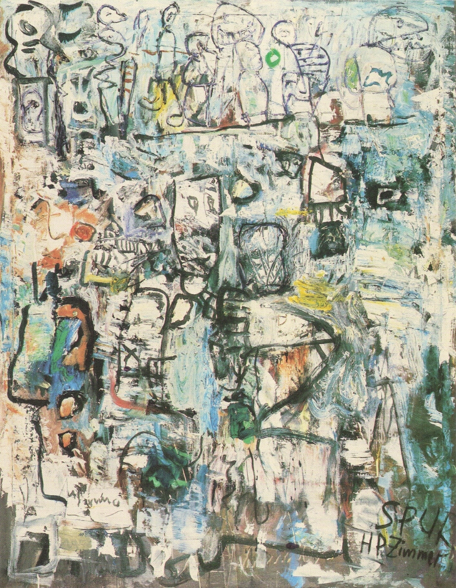 HP Zimmer Die oberen Zehntausend, 1959 Oil on canvas 140 x 110 cm Private Collection