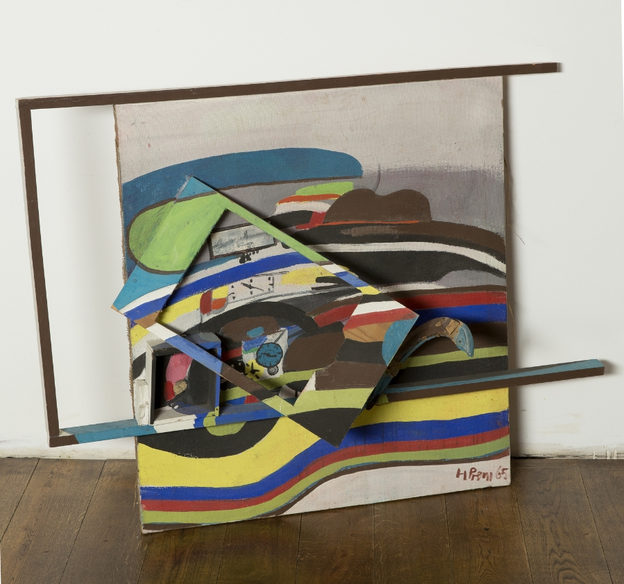 In rasender Geschwindigkeit , 1965 Collage and oil on canvas 110 x 90 cm