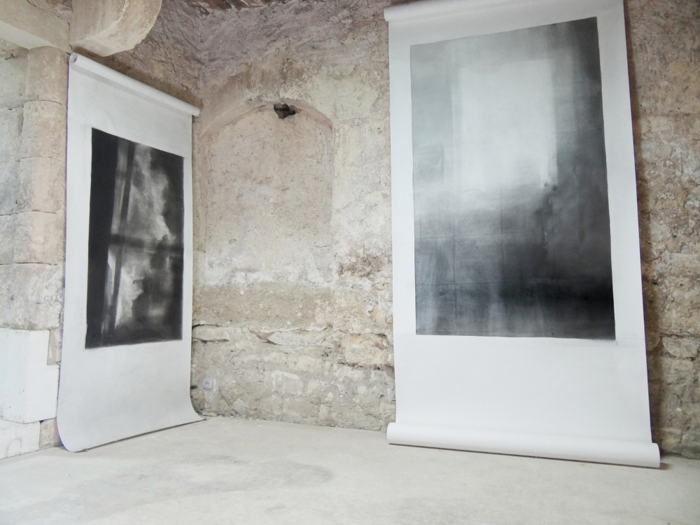 Bruno Albizzati Left: Untitled (Catskills), 2013, charcoal powder on paper, 143 x 82 cm Right: Untitled (Sablons), 2014, charcoal and graphite powder and black pigments on paper, 200 x 130 cm