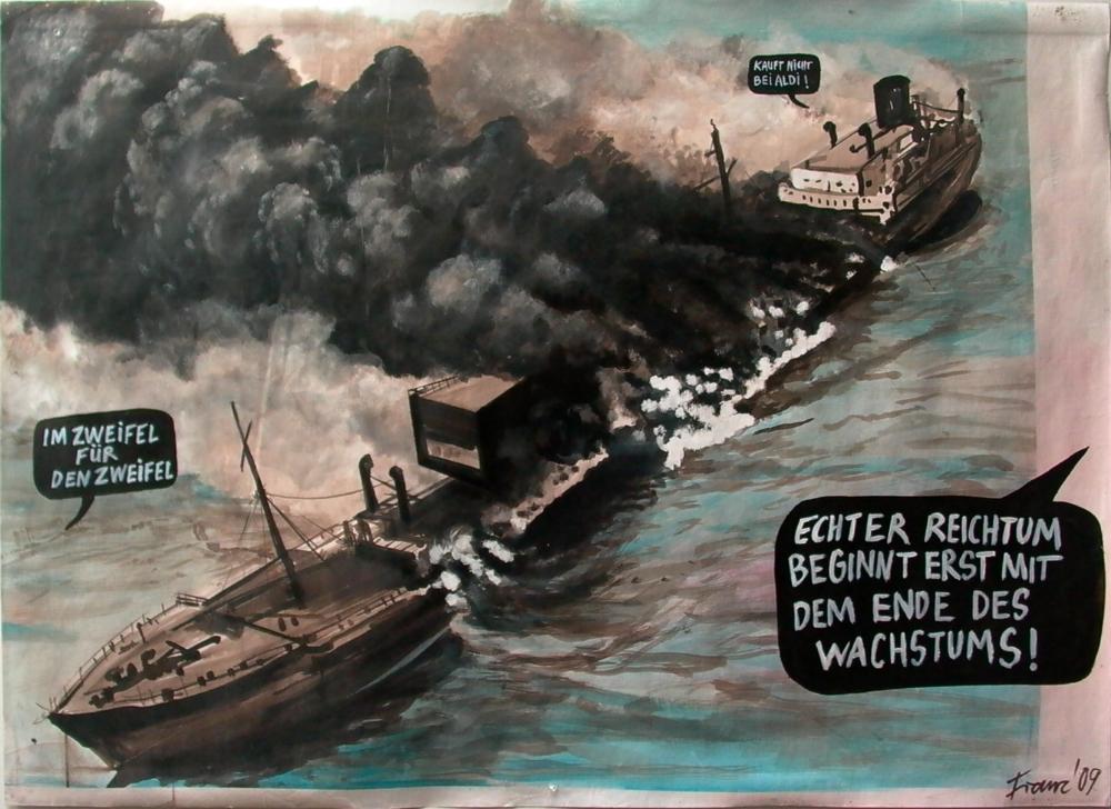 Anstatt tot zu seinist man eben am Leben, 2009 Ink on paper 108 x 149 cm