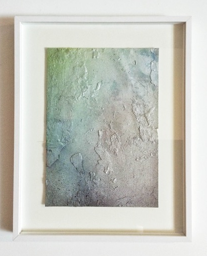Untitled (burnt), 2015 Pastell, acrylic paint and paraffin on paper 29,7 x 21 cm