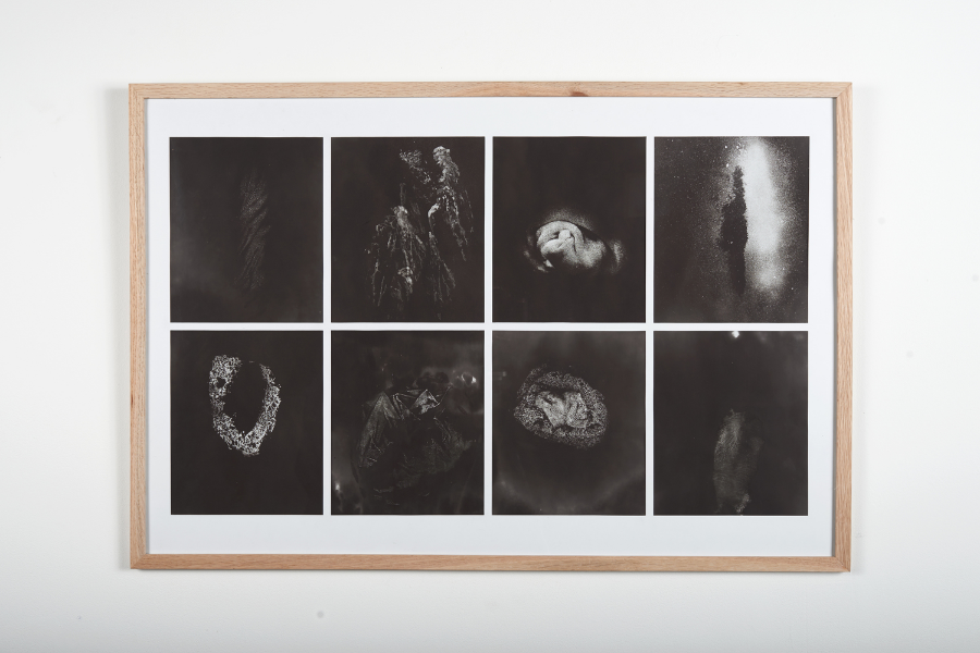 Le Corps Inconsolables, 2015 Alcohol on burned fax paper 60 x 90 cm (framed)