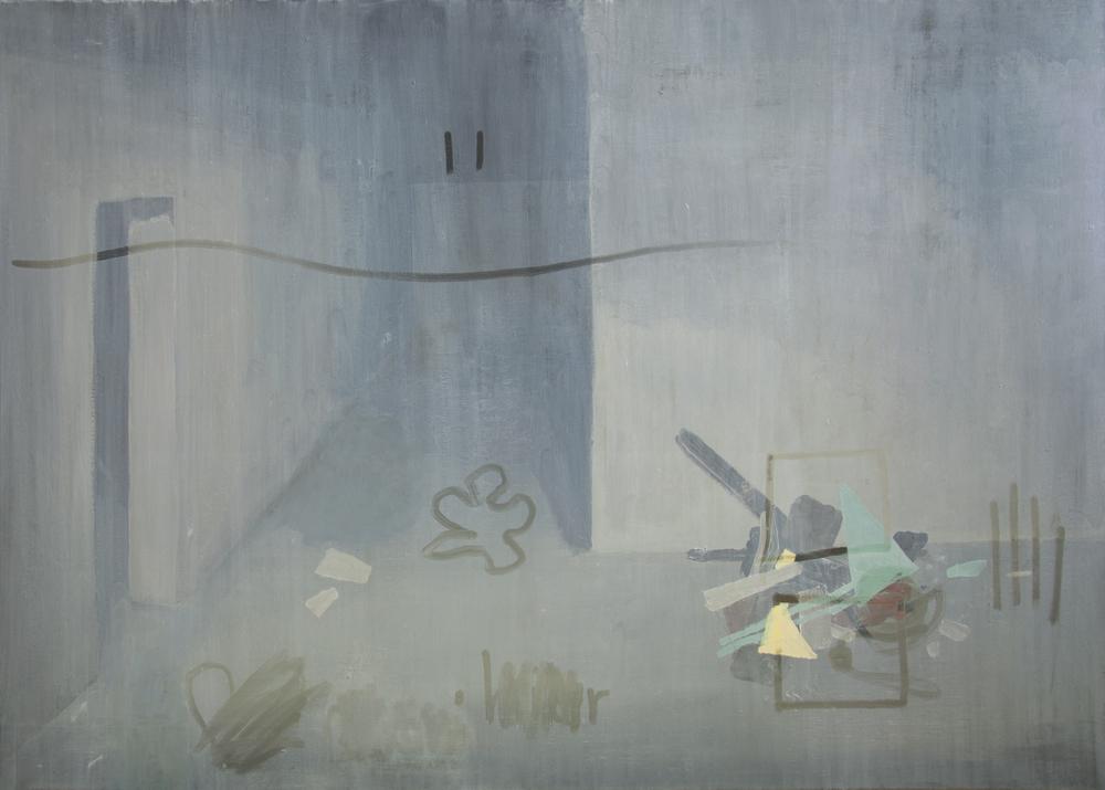 Bruno Hoffmann  Staub,  2015 Öl auf Molino 80 x 130 cm