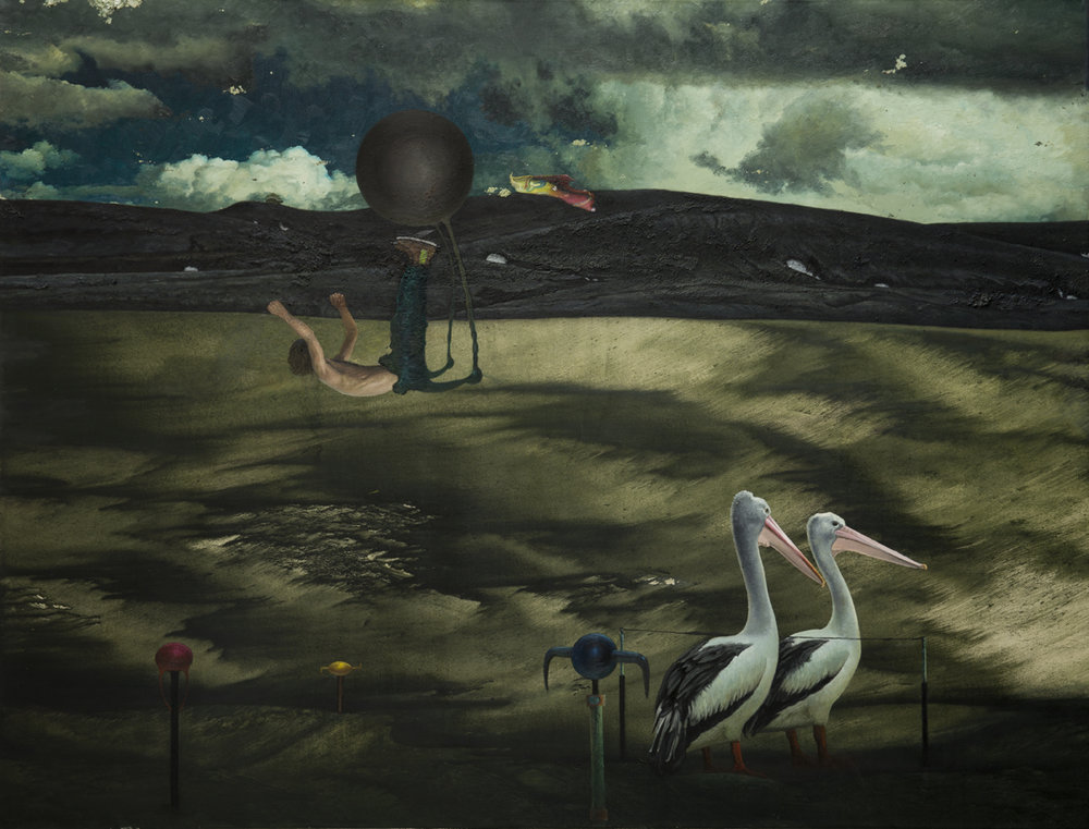 Untitled (Man and two birds), 2014-16 Oil on canvas 130 x 170 cm