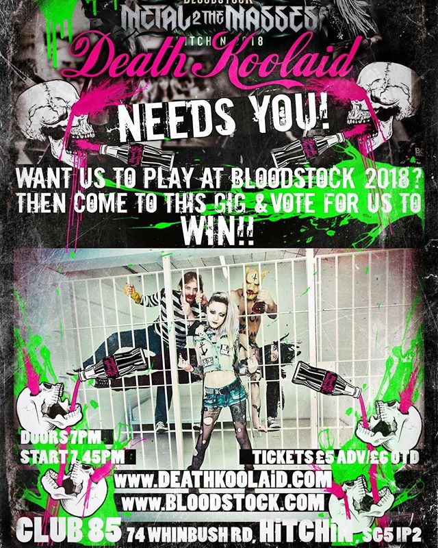 We want to play Bloodstock 2018 and we need your help! Come down to our next gig in Hitchin on the 11th March!  #punk #metal #music #livemusic #loud #scream #london #gig #singer #rock #punkrock #moshpit #guitars #drums #vocals  #industrial #festival #rockandroll #band #goth #scary #punkrocker #metalhead #alt  #concert #diy #digitalmusic #musicians #review #tour