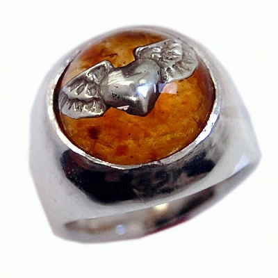 Flying Heart in Amber Ring