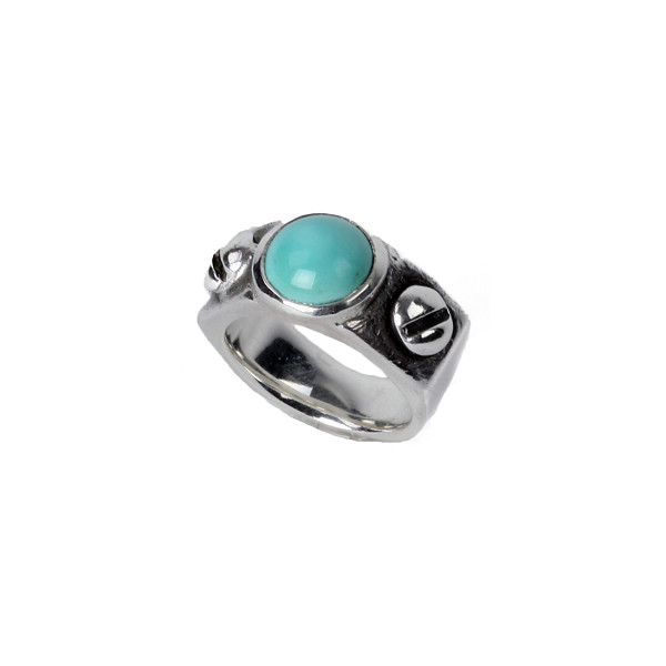 Bolt & Nut Ring with Stone