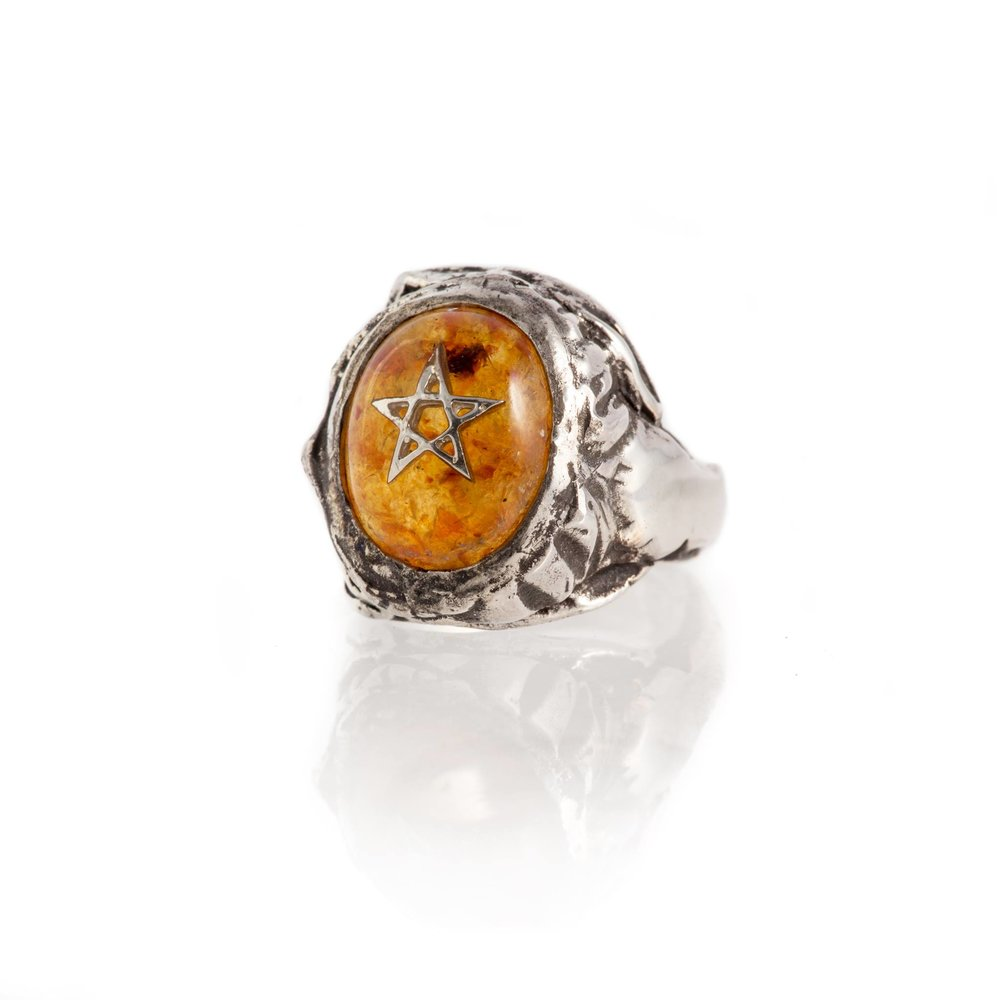 Baby Angel Heart Ring - Amber
