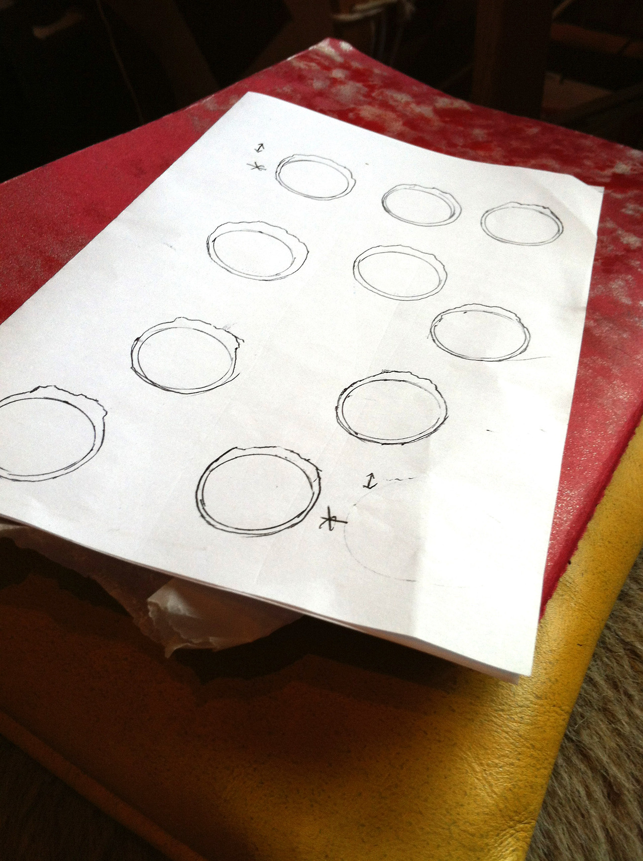 Getting it right… profiling rings for upcoming commissions, before putting the tools to them.