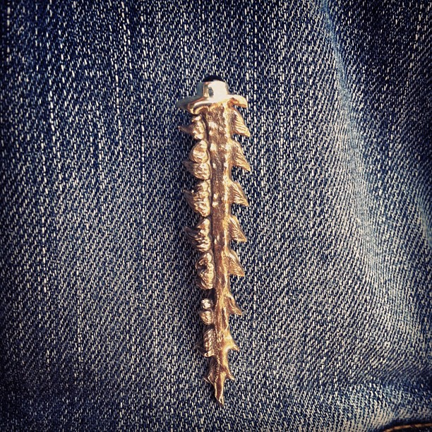 #custom #fishbone pin with onyx, lookin' sharp on denim.