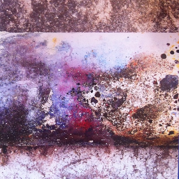 The many faces of metal…I found this surface in the ruins of a burnt out gas station. Gorgeous.