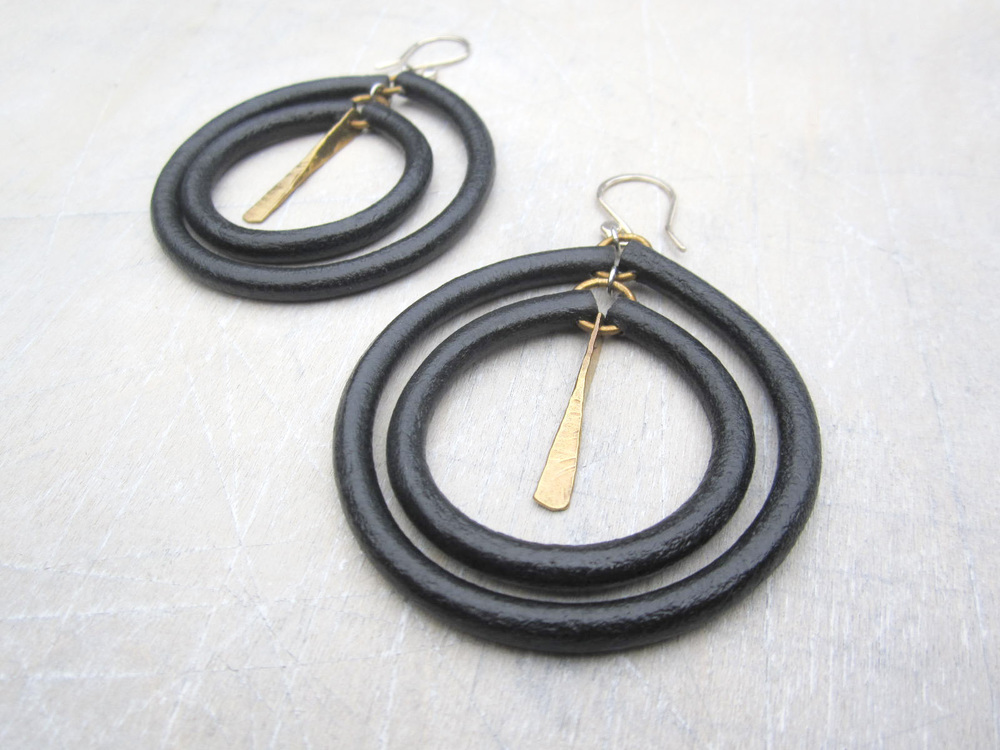 Leather Propeller Hoop Earrings