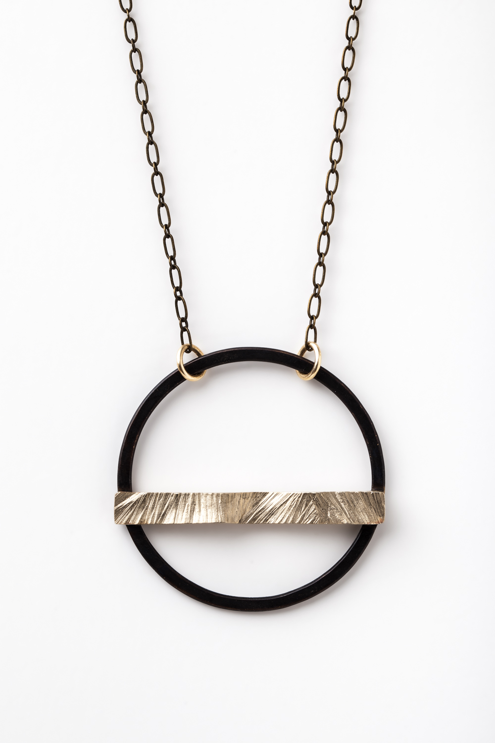 Round Harness Necklace (oxidized brass/bronze)