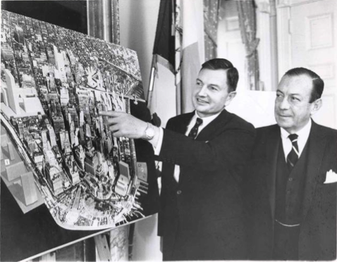 David Rockefeller, chairman of the DMLA, shows the vision of the organization to NYC mayor Robert Wagner, November 20 1963.