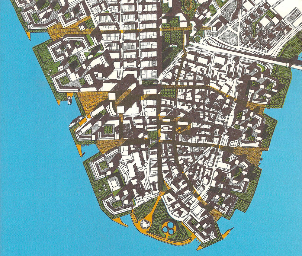 The DMLA's vision for Lower Manhattan, 1968. Its correspondence to the 1928 RPA plan, and to present day Lower Manhattan, is once again striking.