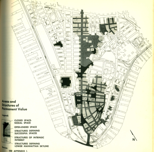 """Areas and Structure of Permanent Value,"" as delimited by the DLMA plan, seek to preserve the business zone, while marking the industrialized fringes of Lower Manhattan as wasted space."