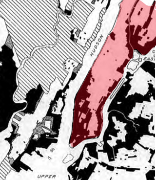 The existing zoning of New York in 1928. The areas in black are zoned for use by Heavy Industry