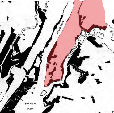 The vision of the First Regional Plan. The areas of heavy industry have been shifted out of Lower Manhattan, and replaced by large swathes of white – areas where heavy industry is explicitly excluded.