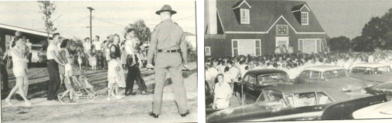 White mobs and broken windows greet the arrival of the first black residents of the suburb of Levittown, PA, 1957