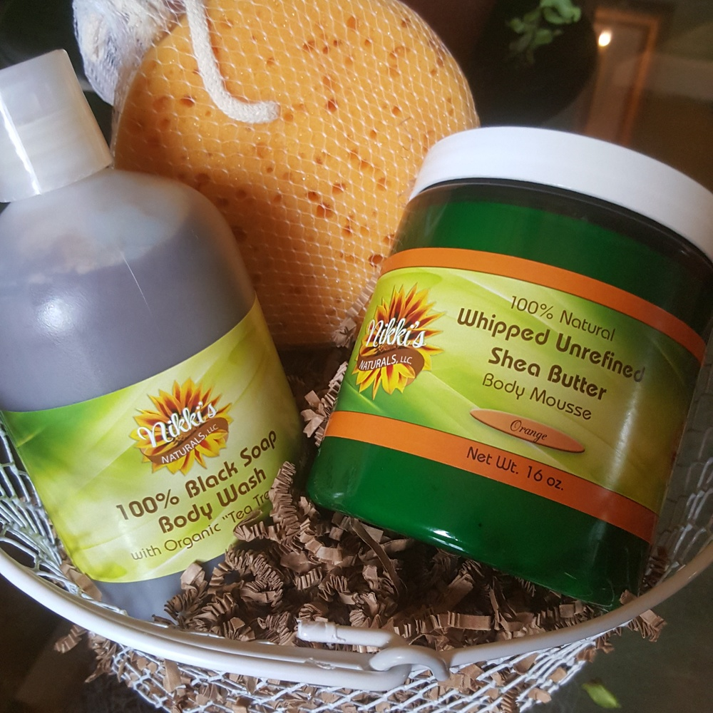 Healthy Vegan Skin Care Basket $37.00   16oz Whipped Shea, 16oz Liquid Black Soap, natural sea sponge and basket