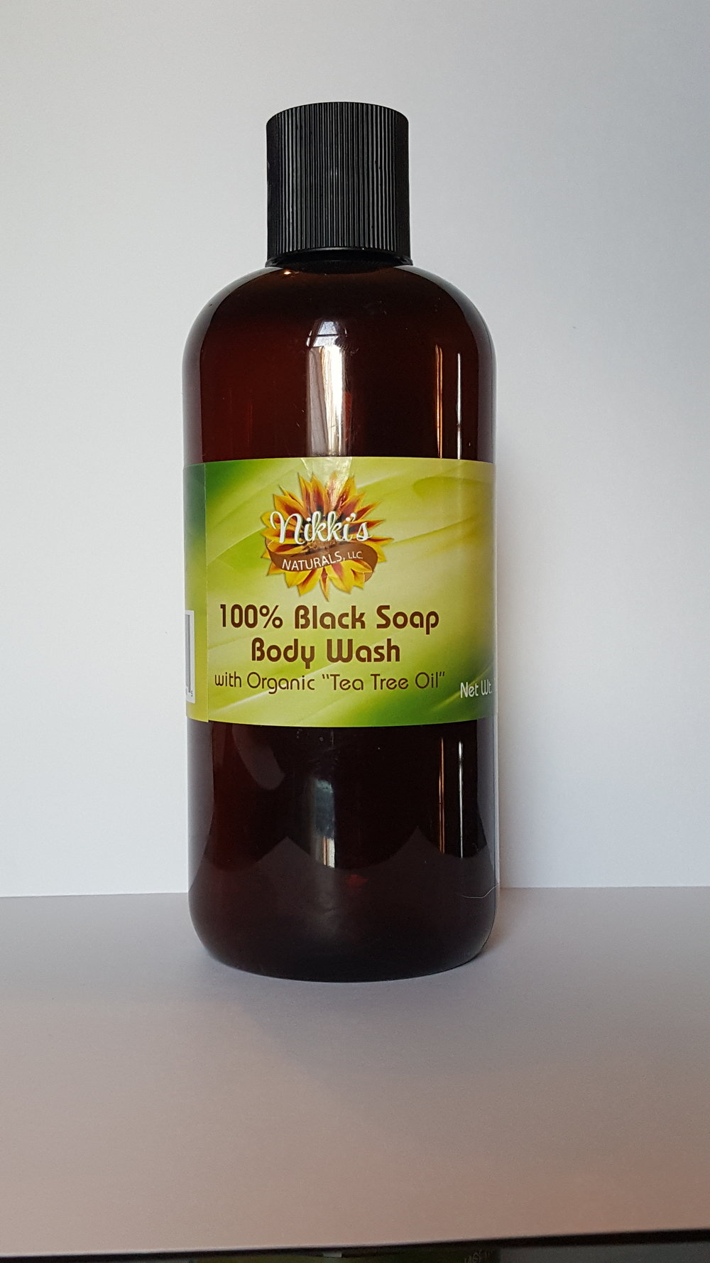 Liquid Black Soap Face and Body Wash with organic Tea Tree oil  16oz $18.00  Ingredients:  Cocoa Pod Ashes, Plantain Skin Ashes, Palm Oil and Organic Tee Tree Oil