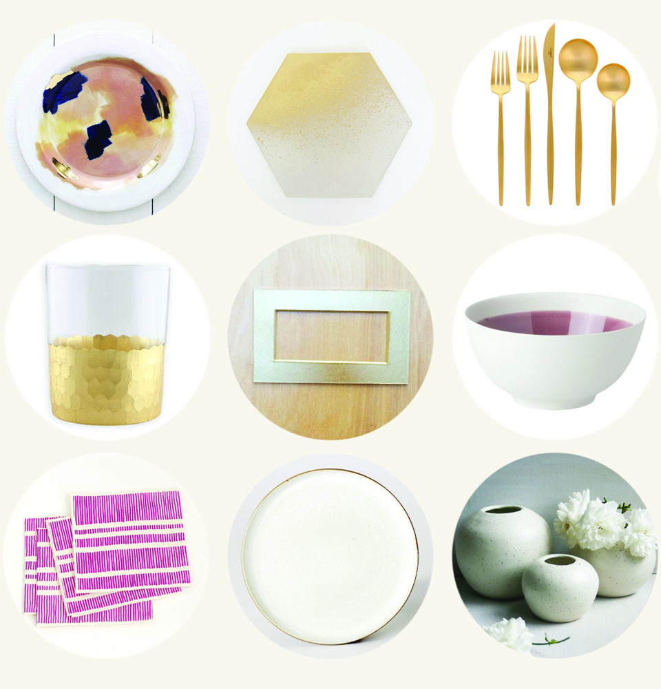 Gold and Pink Holiday Table via Print Em Shop