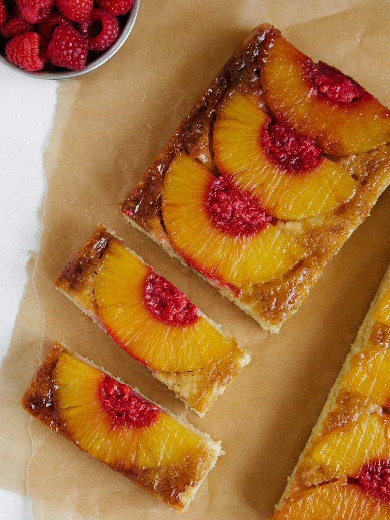 PINEAPPLE UPSIDE-DOWN CAKE + BOOZY RASPBERRY MASH