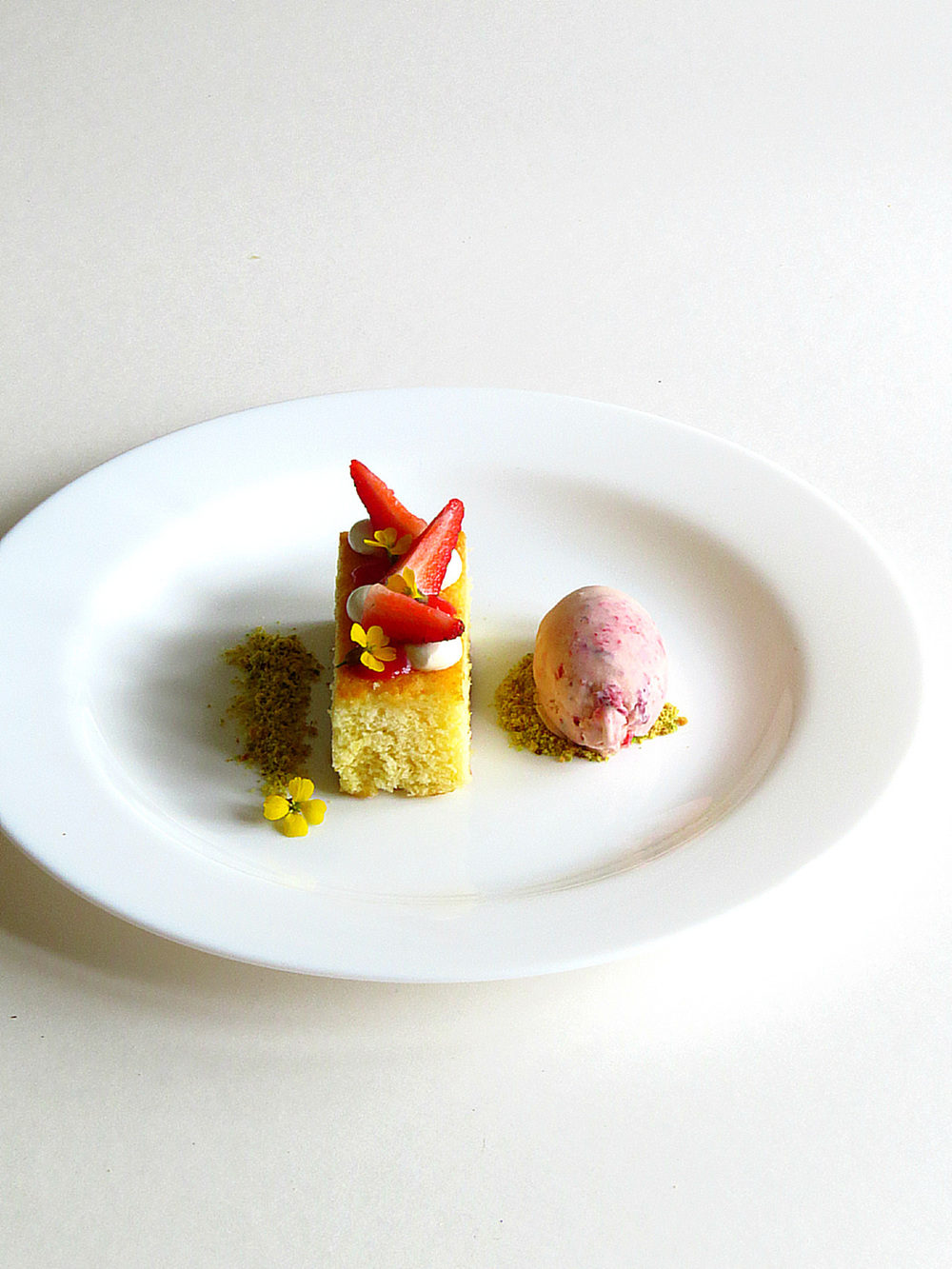 Citrus Madeline Sponge, Strawberries and Cream with Roasted Strawberry and Ginger Ice Cream