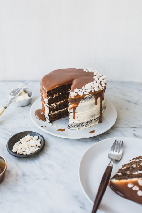 GINGERBREAD LAYER CAKE WITH SALTED WHISKEY CARAMEL