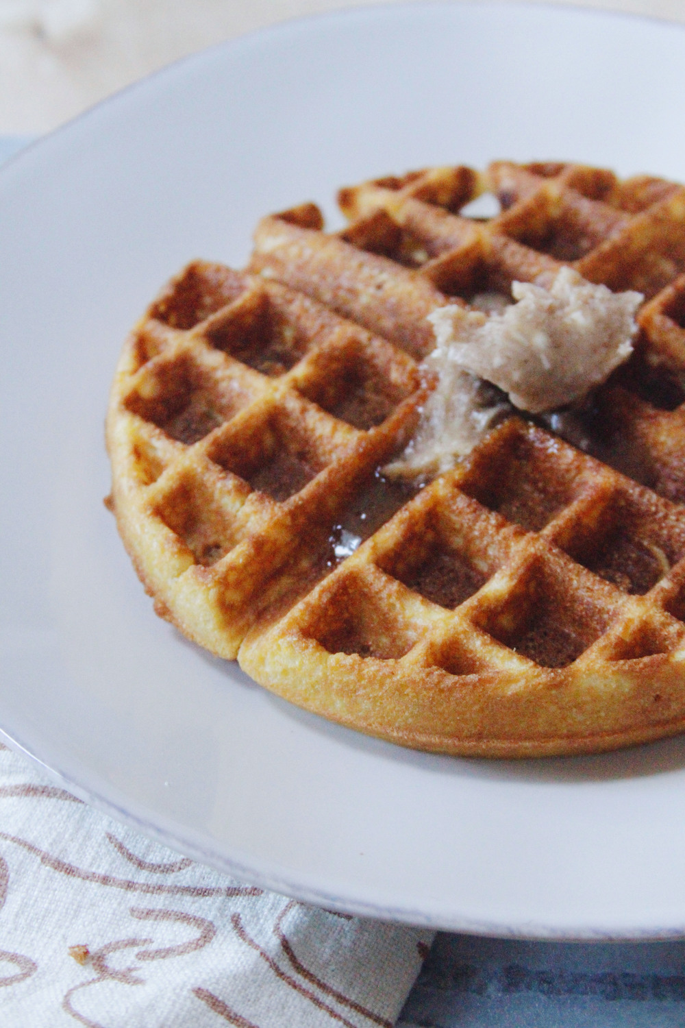 cornbread waffle with honey spice butter