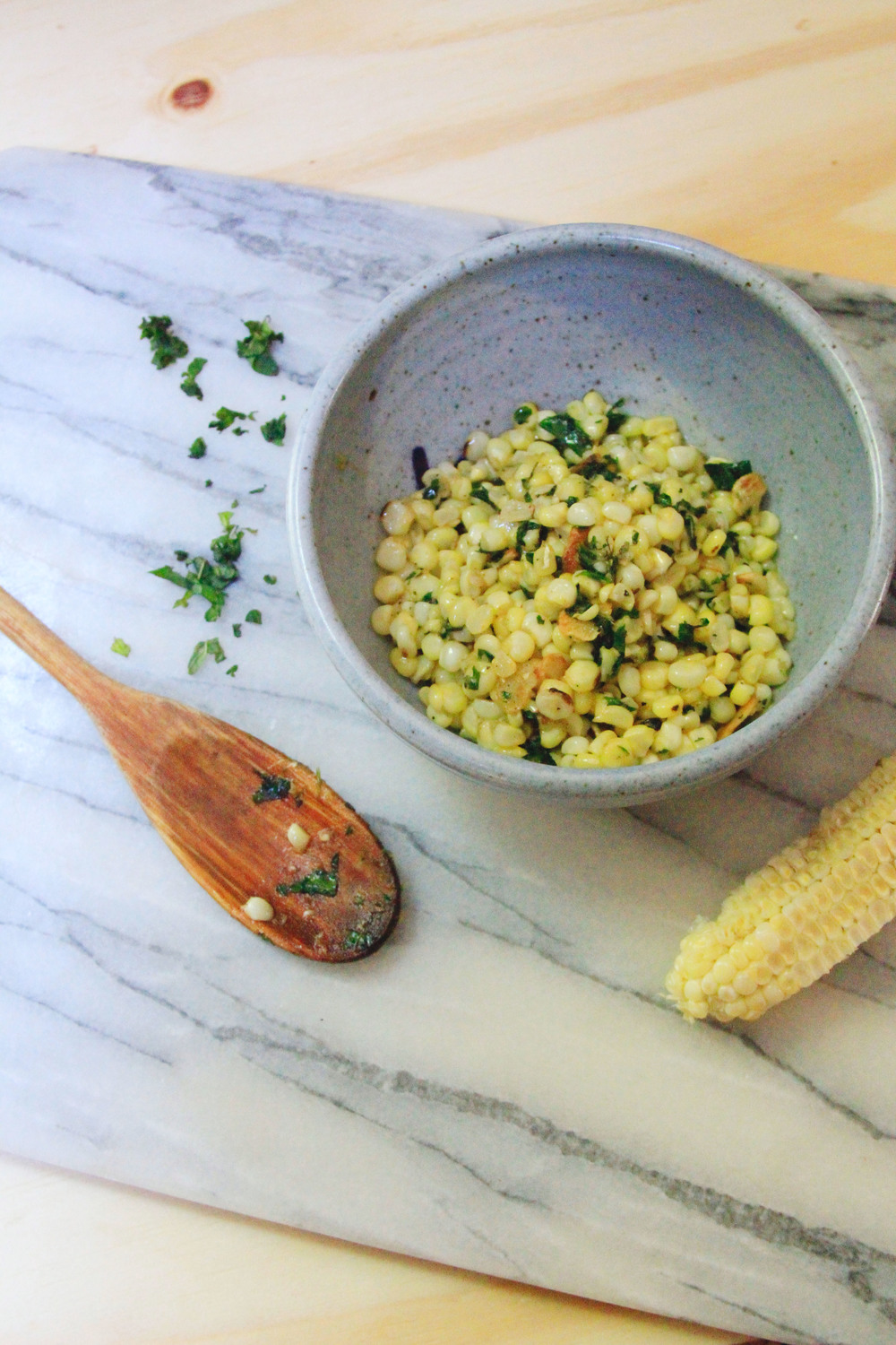 mint and buttered corn