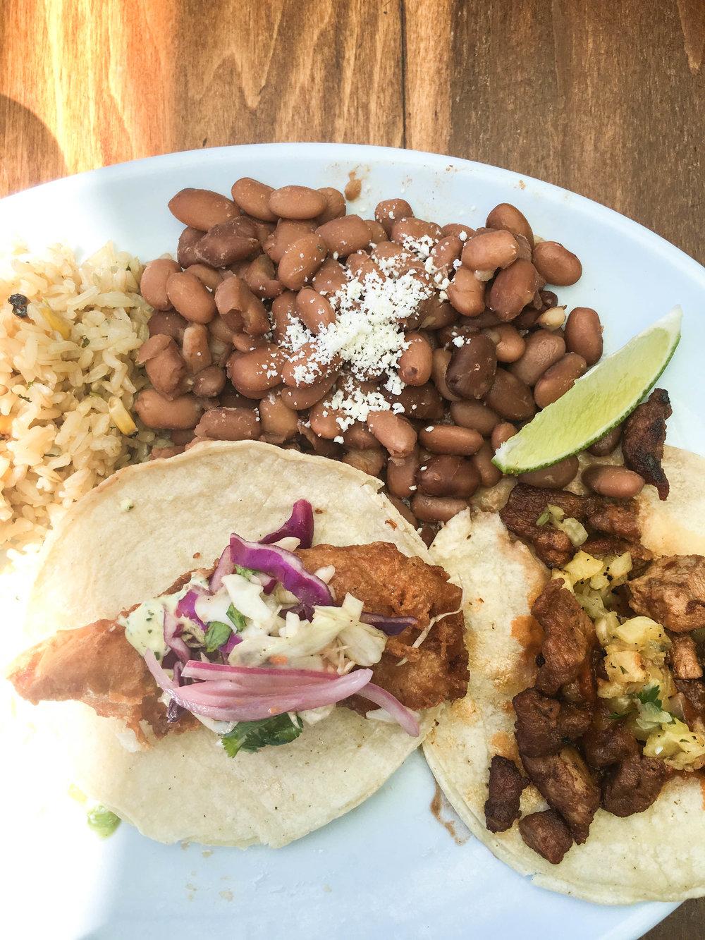 Tacos al pastor and fish tacos
