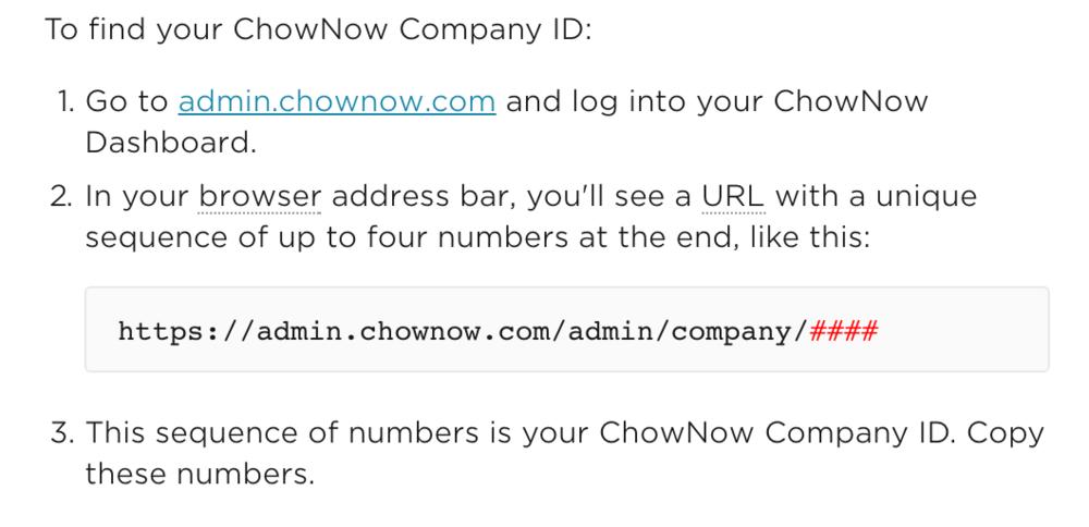 ChowNow Company ID