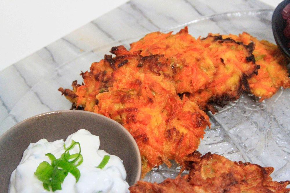 Make your own latke party - carrot and apple pancakes