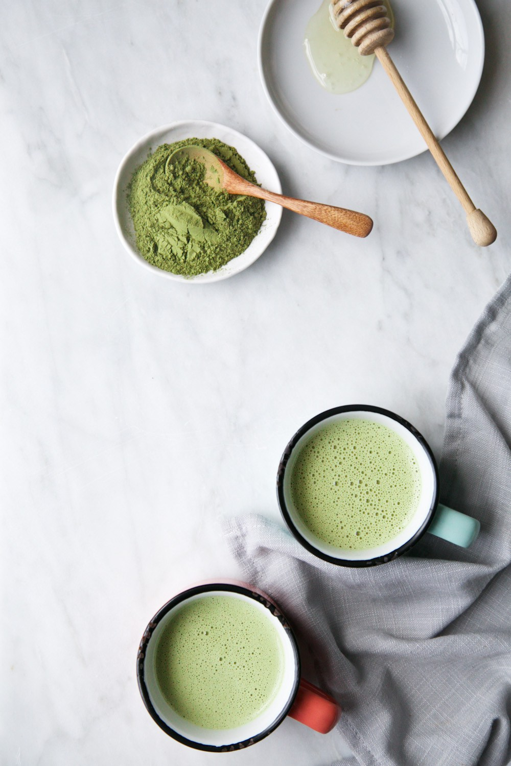 Creamy matcha and moringa latte
