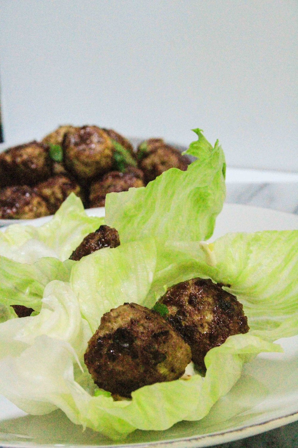 Pork meatball lettuce wraps